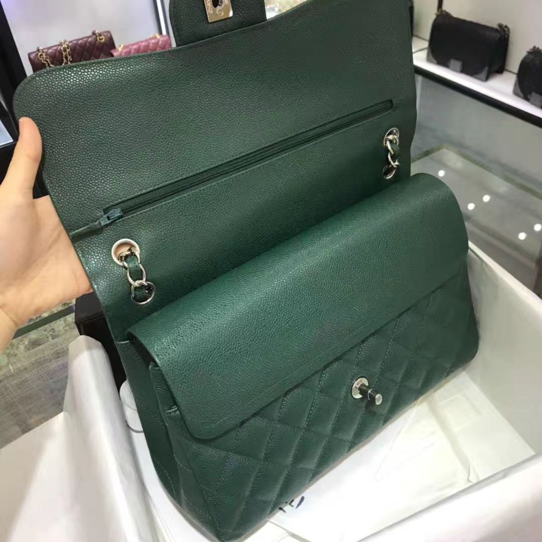 Chanel 香奈儿 Cf系列 30cm 原厂皮鱼子酱 孔雀绿 银色五金