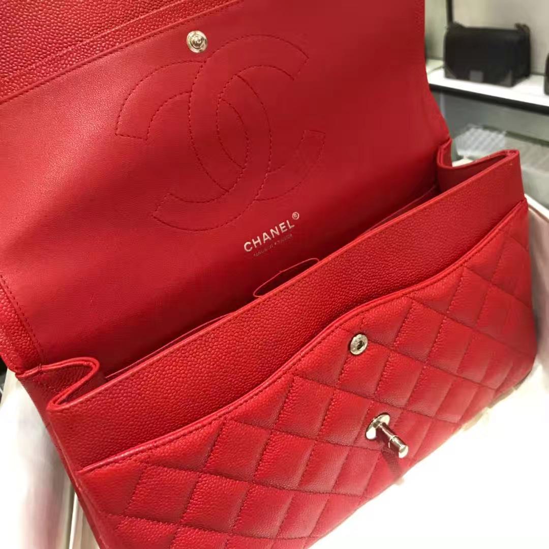 Chanel 香奈儿 Cf系列 30cm 原厂皮鱼子酱 大红色 银色五金