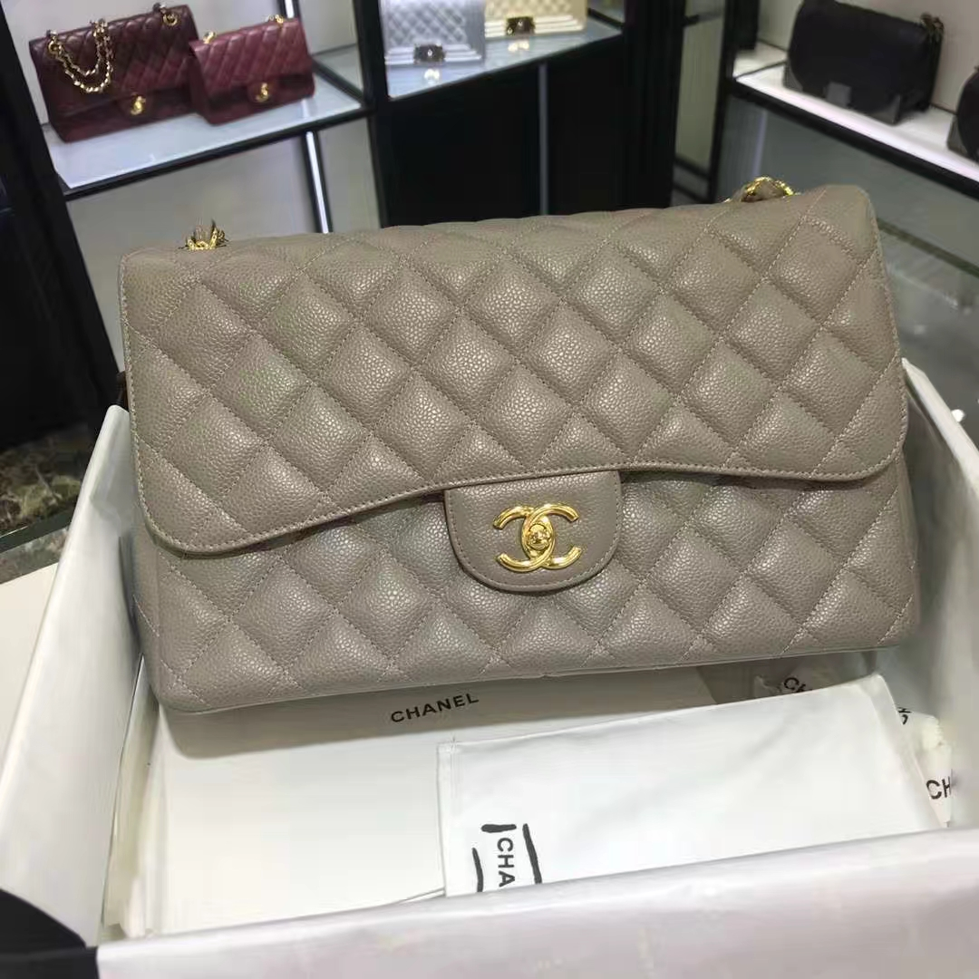 Chanel 香奈儿 Cf系列 30cm 原厂皮鱼子酱 大象灰 金色五金