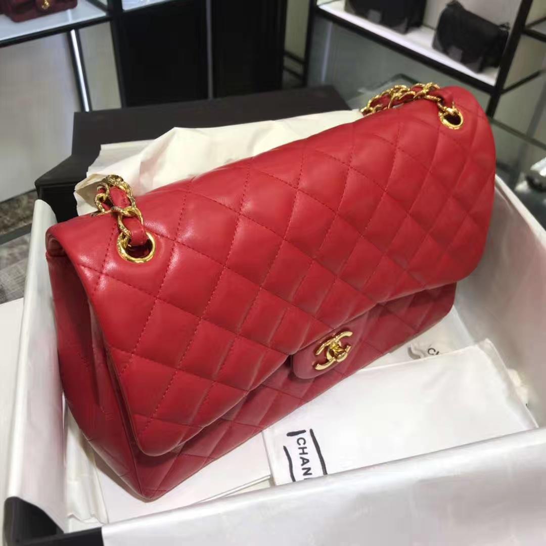 Chanel 香奈儿 Cf系列 30cm 原厂皮小羊皮 大红 金色五金