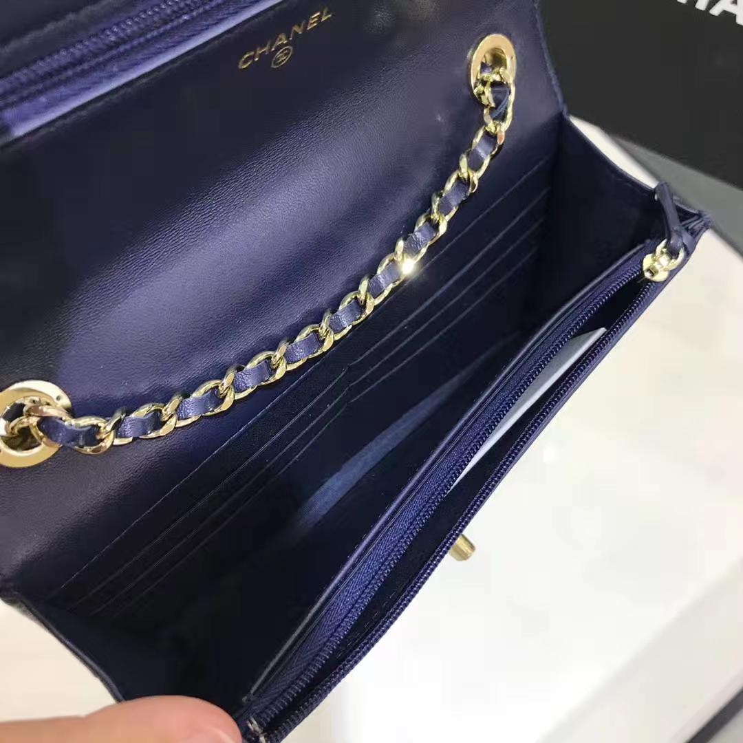 Chanel 香奈儿 WOC 铁片款 19cm 原厂皮小羊皮 宝石蓝 香槟金