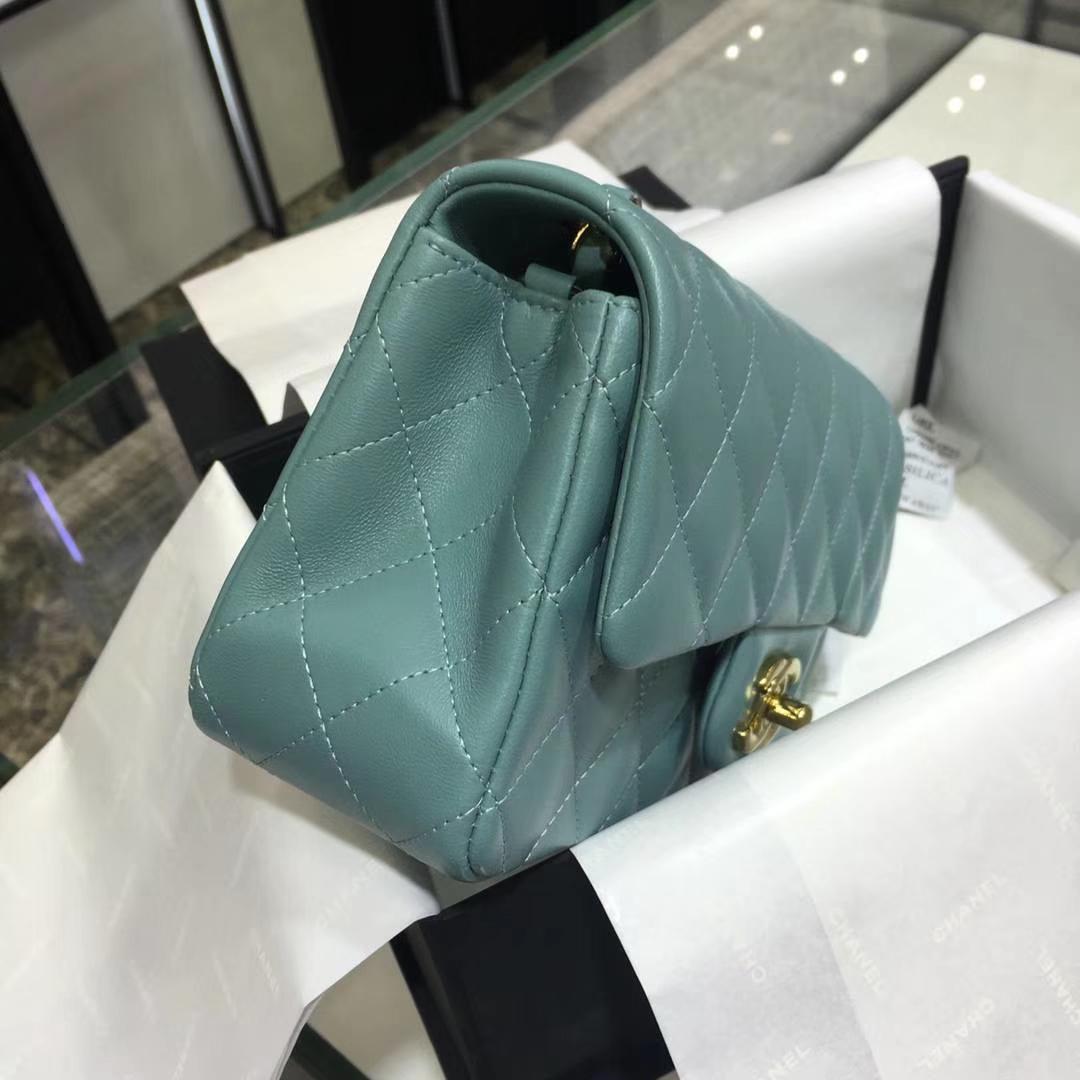 Chanel 香奈儿 Cf系列 17cm 原厂皮 小羊皮 薄荷绿 金色五金