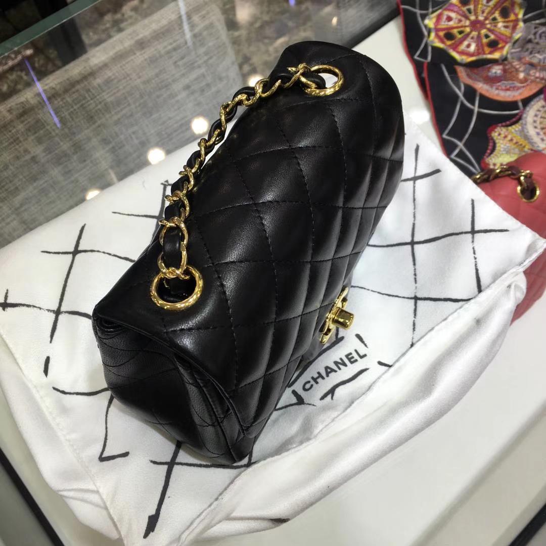 Chanel 香奈儿 Cf系列 17cm 原厂皮 小羊皮 黑色 金扣