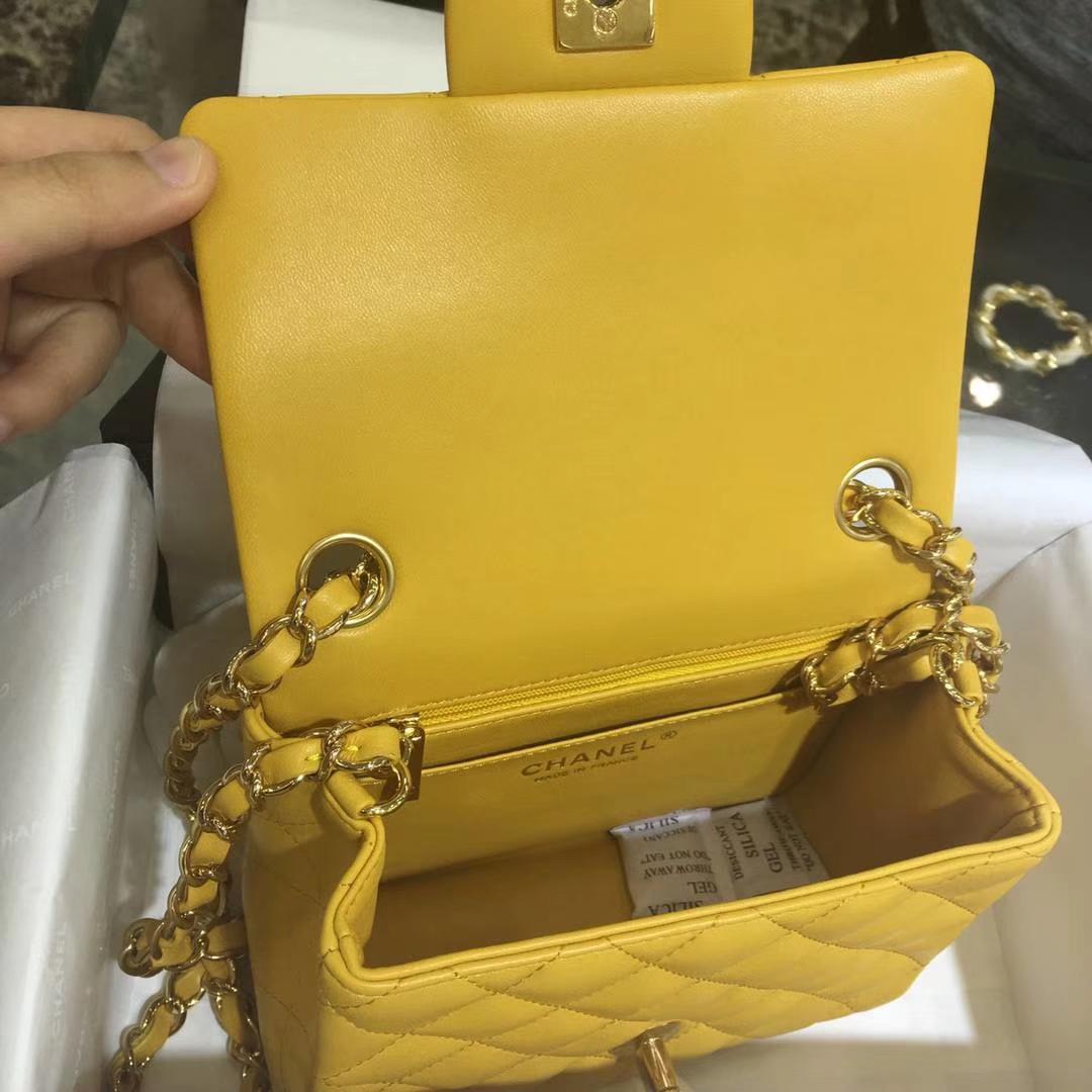 Chanel 香奈儿 Cf系列 17cm~原厂皮小羊皮 芒果黄 金扣