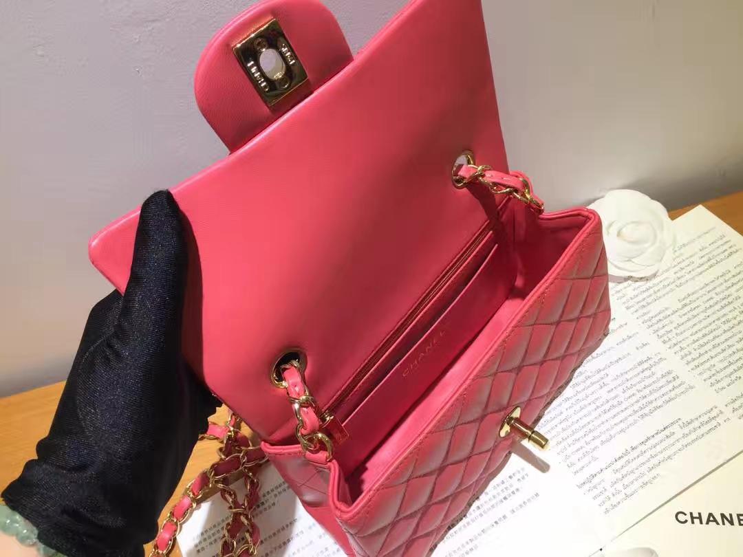 Chanel 香奈儿 Cf系列 20cm 原厂皮小羊皮 西瓜红 金扣