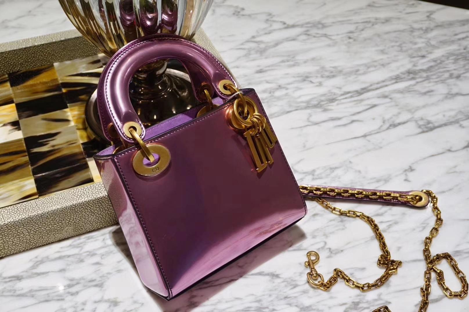Dior mini 镜面皮 完美出品 金扣 蔷薇玫紫色