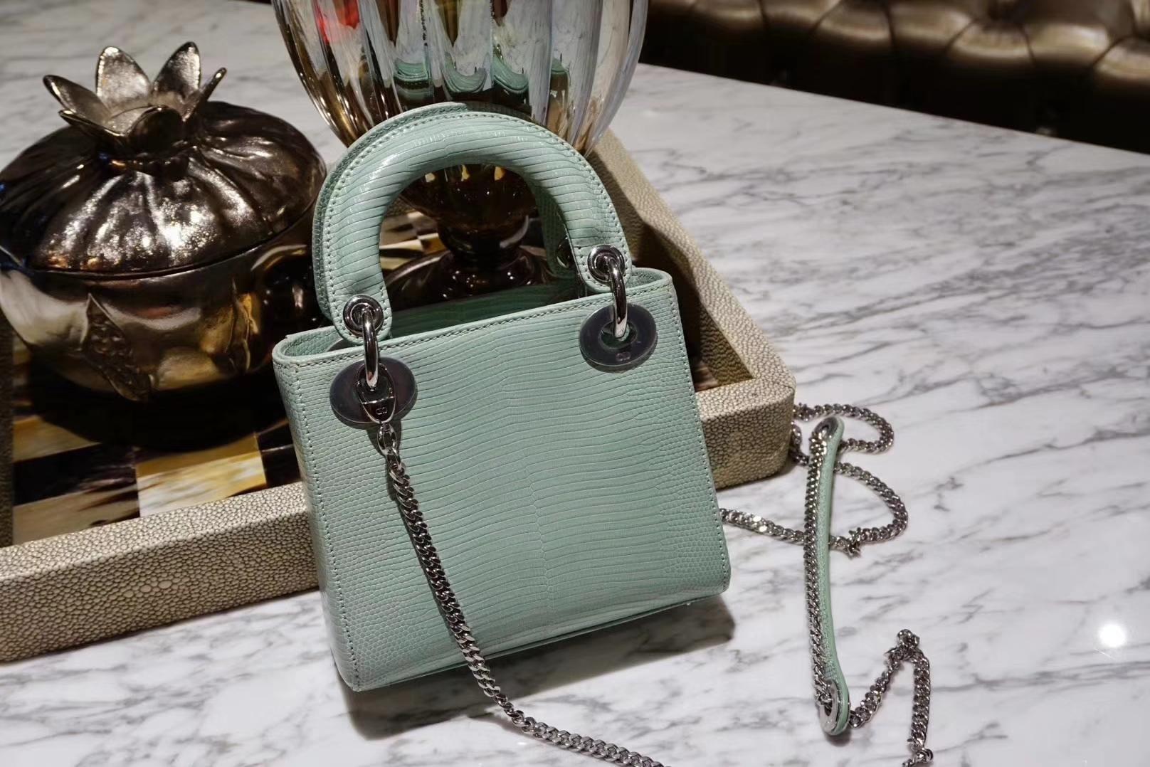 Dior mini 蜥蜴皮 完美出品 金扣 清新薄荷绿