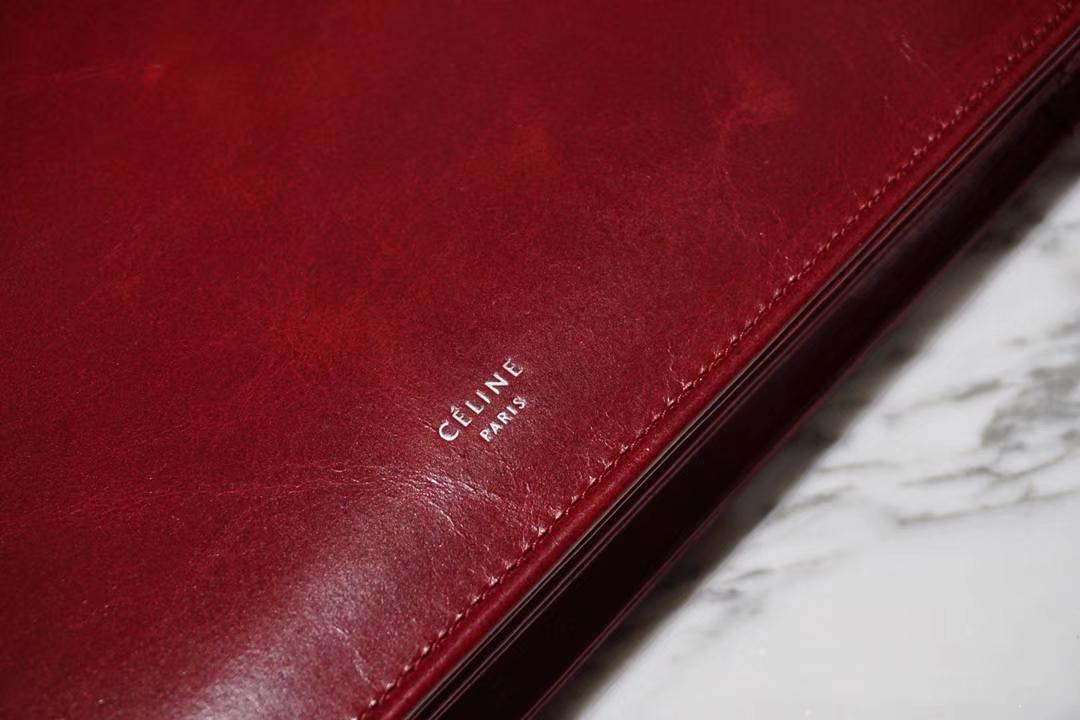 CÉLINE clasp牛皮油蜡纹 红色 开合包 细肩带