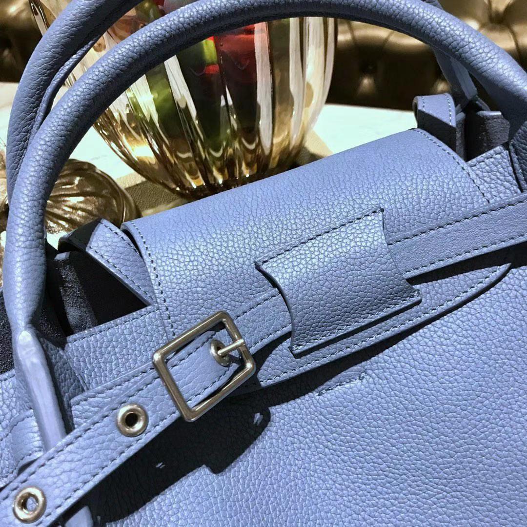 CÉLINE 购物袋 专柜同步发售 中号24cm 天空蓝 进口荔枝纹牛皮