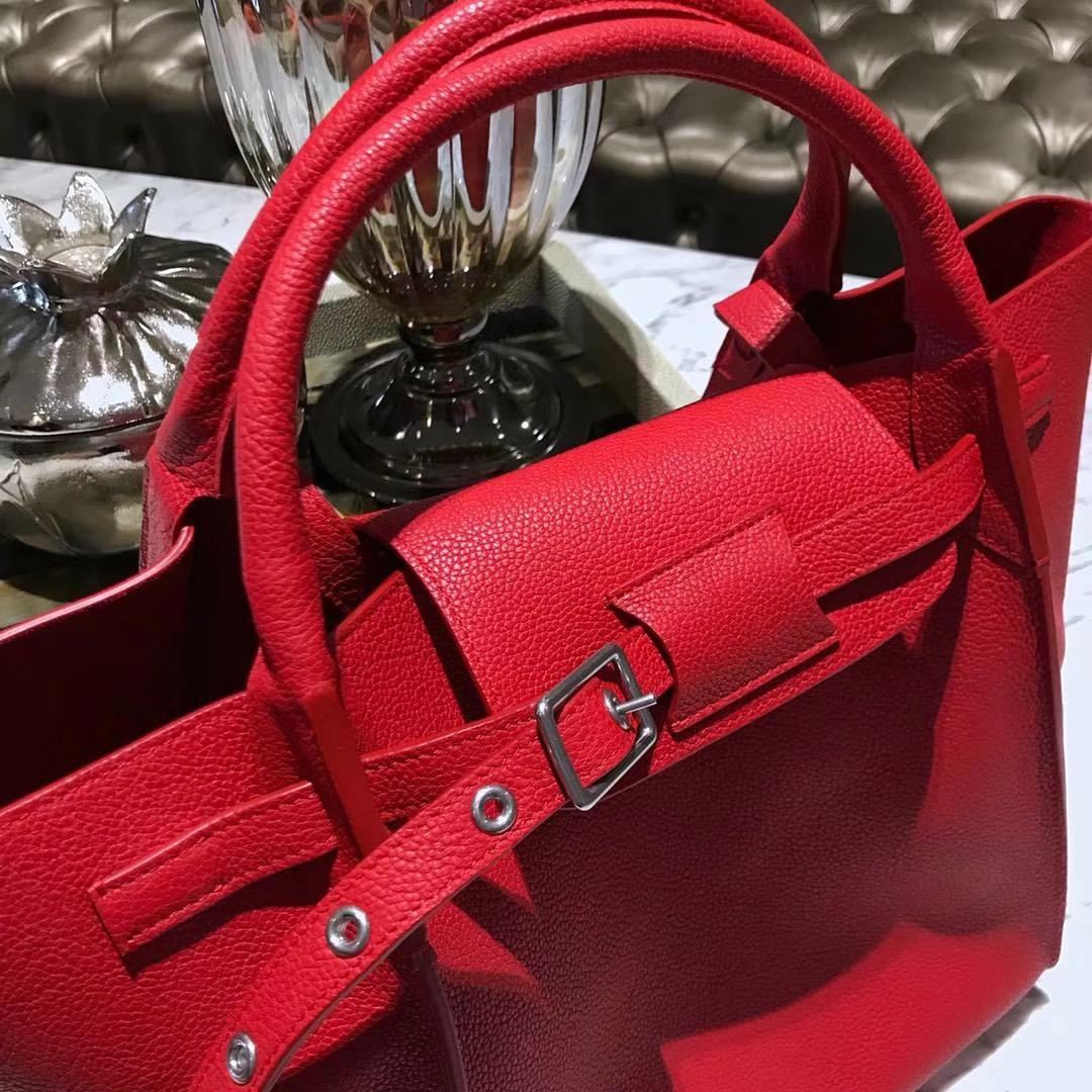 CÉLINE 购物袋 专柜同步发售 中号24cm 红色 进口荔枝纹牛皮