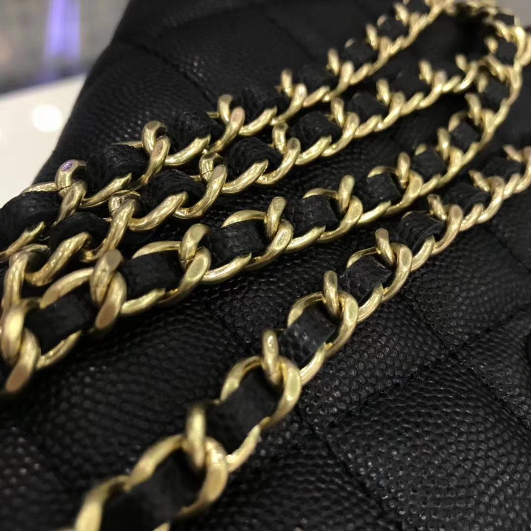 Chanel 香奈儿 WOC19cm 原厂皮小鱼子酱 黑色 磨砂金