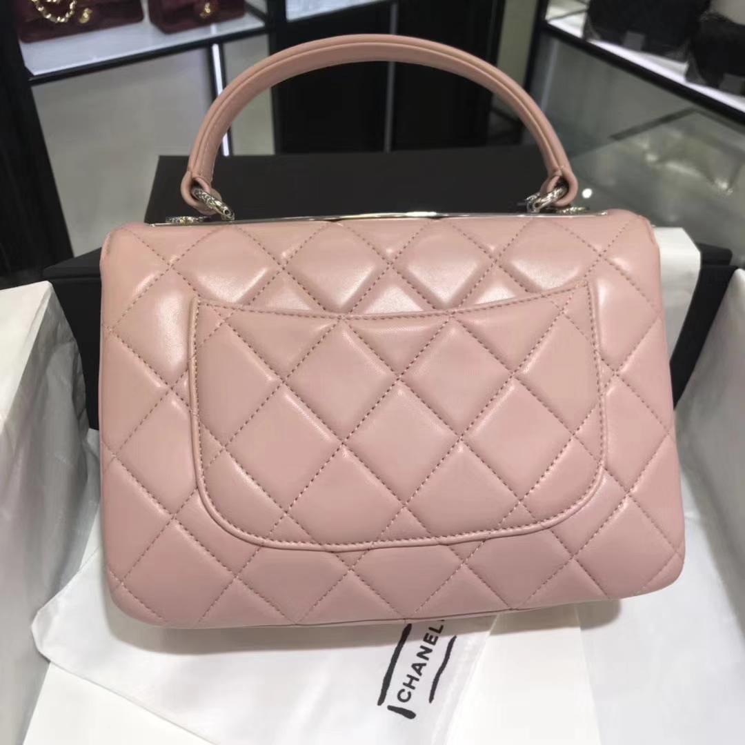 Chanel 香奈儿 Trendy CC 25cm 原厂皮小羊皮 浅粉色 银扣