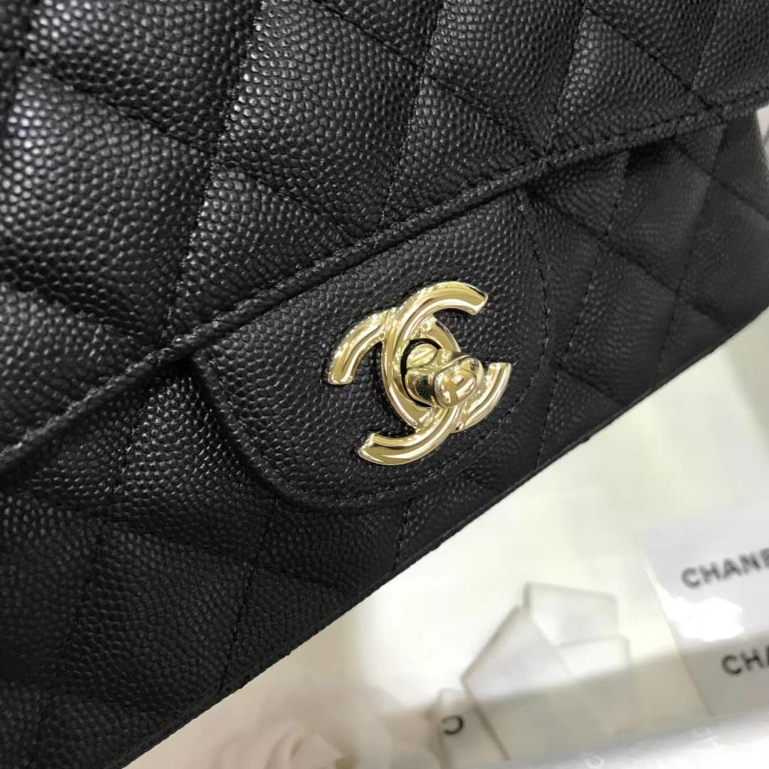 Chanel 香奈儿 CF经典系列 20cm 原厂皮小鱼子酱 黑色 香槟金