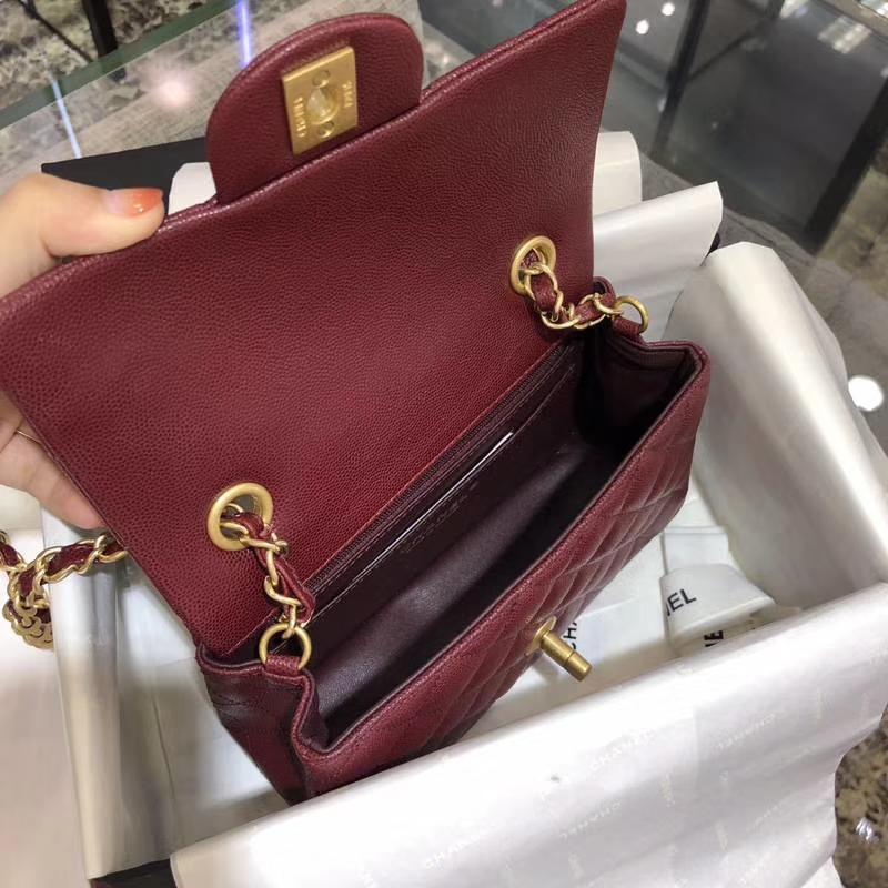 Chanel 香奈儿 Classic Flap Bag 小鱼子酱 20cm 酒红色 磨沙金扣