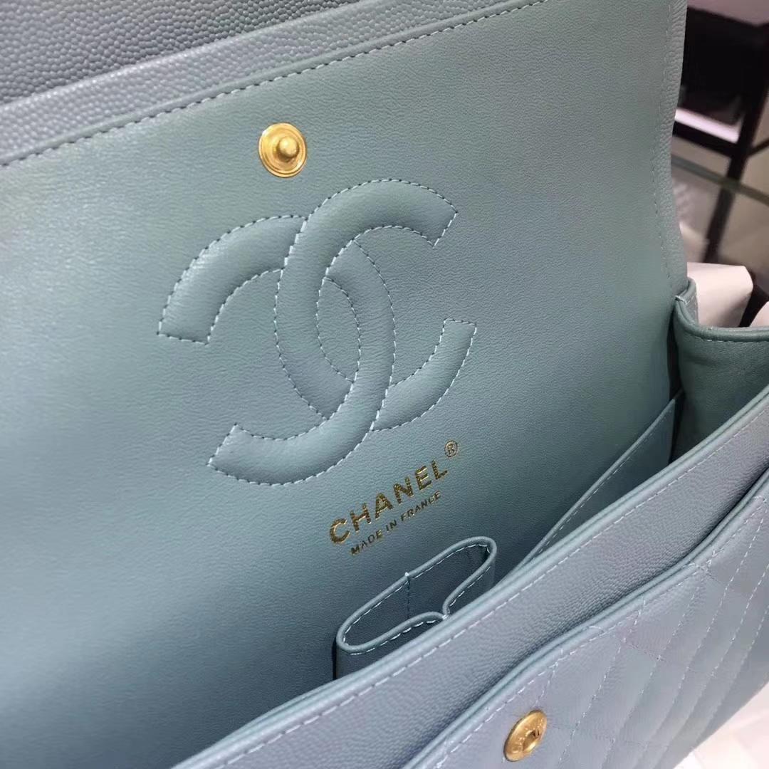 Chanel 香奈儿 Cf经典系列 25cm 原厂皮小鱼子酱 薄荷绿 怀旧金