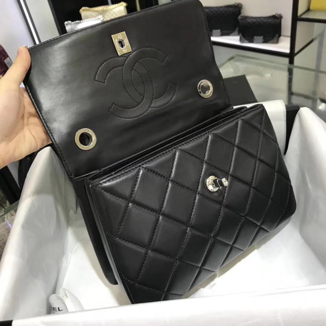 Chanel 香奈儿 Trendy CC 25cm 原厂皮小羊皮 黑色 银扣