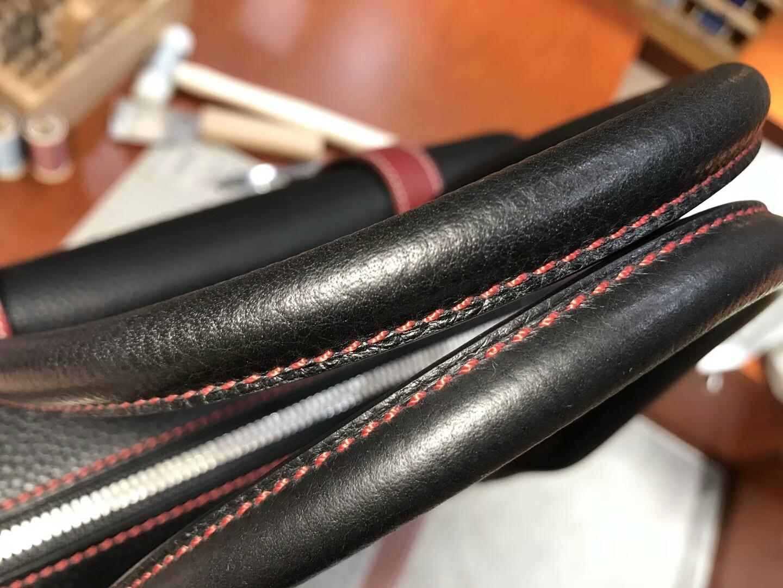 BLACK 黑色 拼 石榴红 K1 Rouge Grenat HERMES 爱马仕男士手提包 公文包