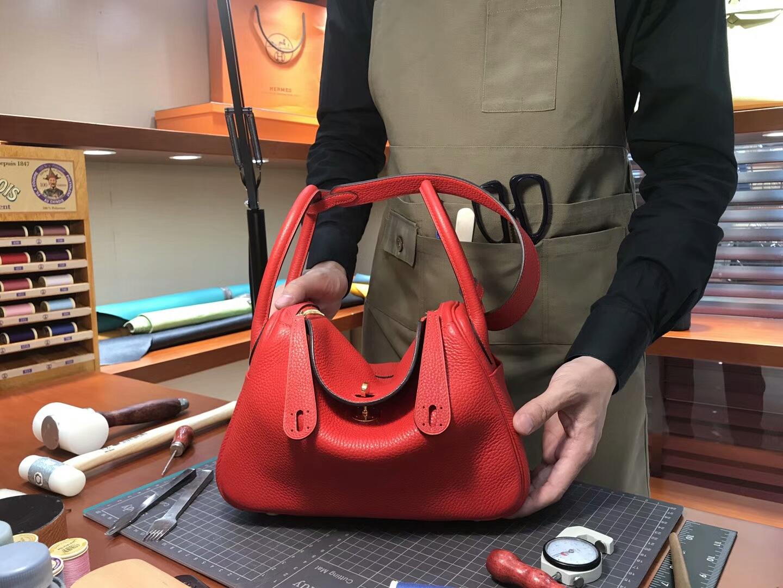 爱马仕 HERMES Lindy 26/30cm s5 番茄红rougetomate 配全套专柜原版包装