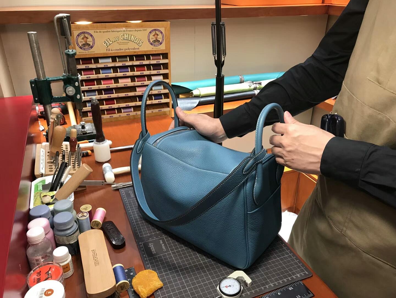 爱马仕 HERMES Lindy 26/30cm r2玛瑙蓝 银扣 配全套包装
