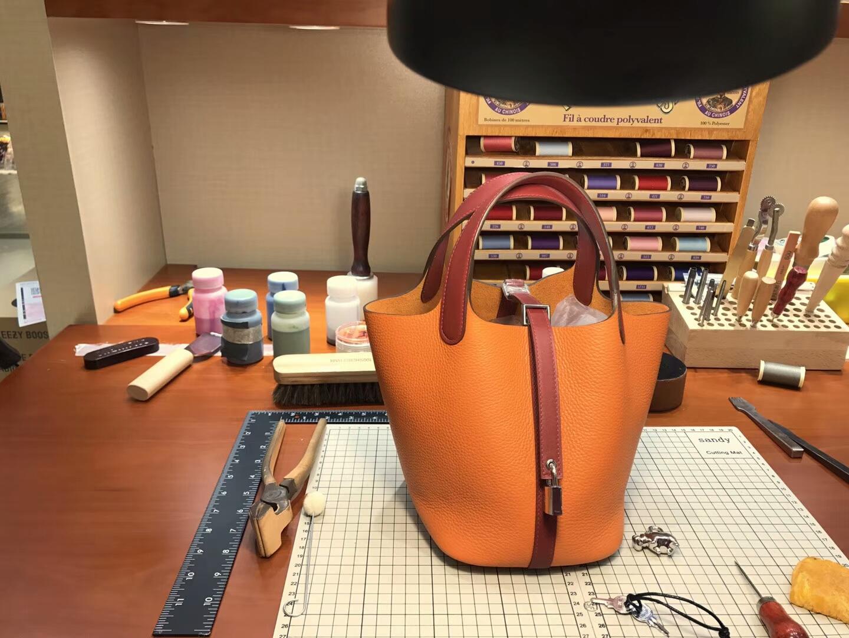 爱马仕 HERMES 菜篮子 Picotin 配全套专柜原版包装 全球发售 CK93Orange橙色 拼 t5 rose jaipur 斋普尔粉 蜜桃粉