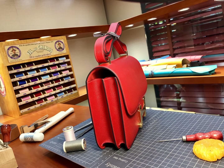 HERMES 爱马仕 空姐包 Constance 法拉利红braiseck95 配全套专柜原版包装