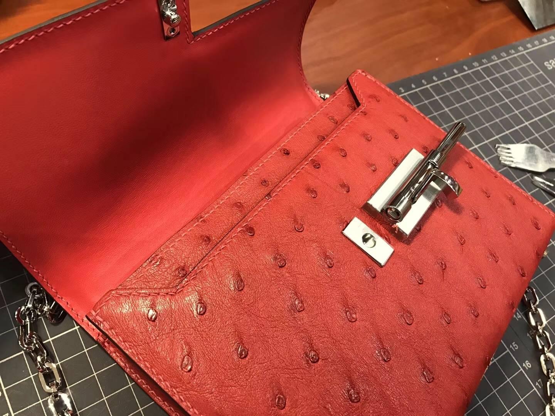 HERMES 爱马仕 手枪包 Verrou Chain 石榴红 k1 rouge grenat  配全套专柜原版包装