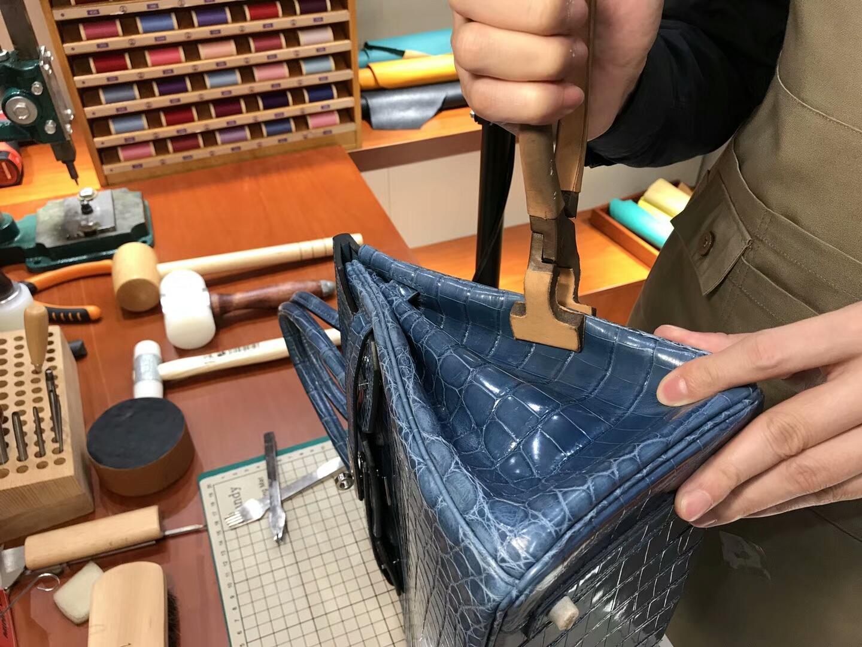 N7风暴蓝BlueTempete 爱马仕 HERMES 铂金包 Birkin 25cm 配全套专柜原版包装 全球发售 鳄鱼