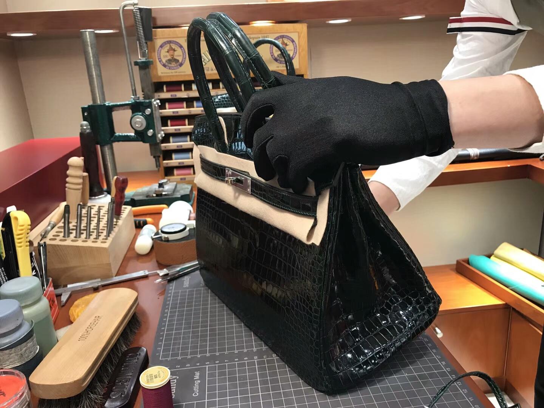 爱马仕 HERMES 铂金包 Birkin 25cm 配全套专柜原版包装 全球发售 鳄鱼 CK67祖母绿