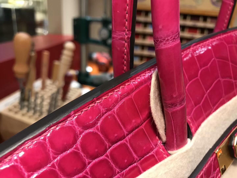 爱马仕 HERMES 铂金包 Birkin 25cm 配全套专柜原版包装 全球发售 鳄鱼 J5 天方夜谭粉紫 Scheherazade