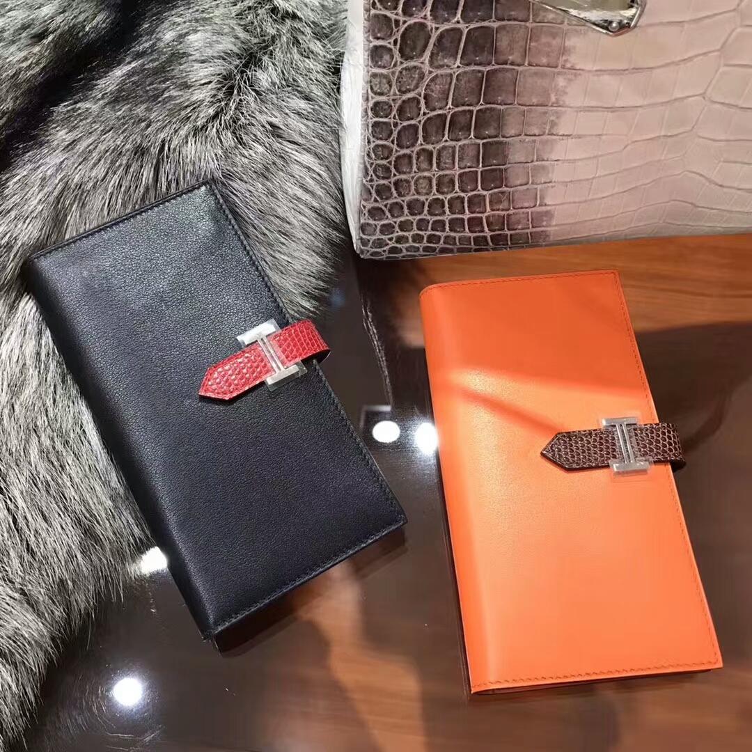 Bearn 长款H扣钱包 蜥蜴皮搭扣 89黑色 Noir/CC93 Orange 橙色 配全套专柜原版包装