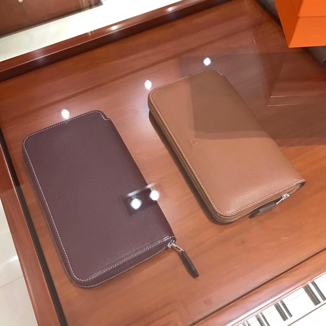 HERMES 长款拉链钱包 b5 ruby 宝石红/ck37 金棕色gold 配全套专柜原版包装