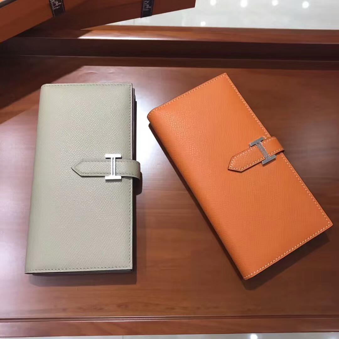 HERMES 爱马仕 Bearn 长款H扣钱包 珍珠灰 pearl grey/CC93 Orange 橙色 橘色