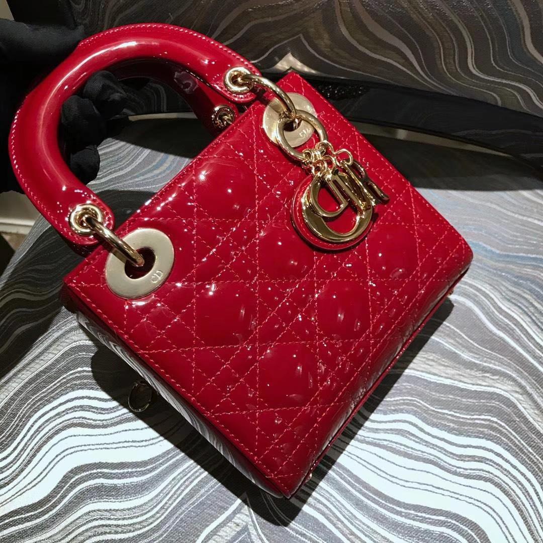 Dior 迪奥 戴妃包 Lady Dior 小号17cm漆皮 酒红色 金扣