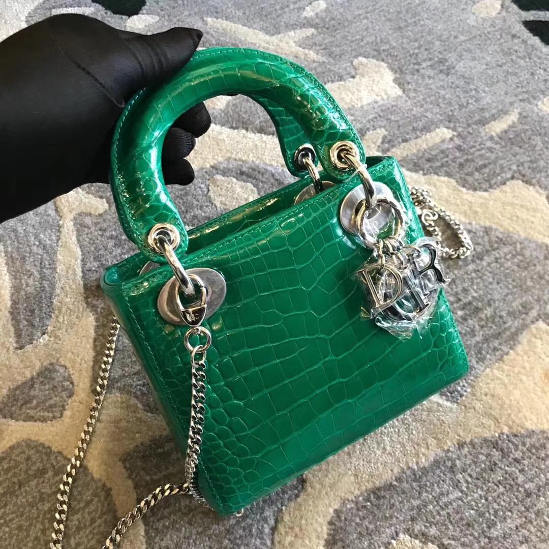 客订出货 Dior 迪奥 戴妃包 Lady Dior VIP 私人定制 鳄鱼  3格  翡翠绿