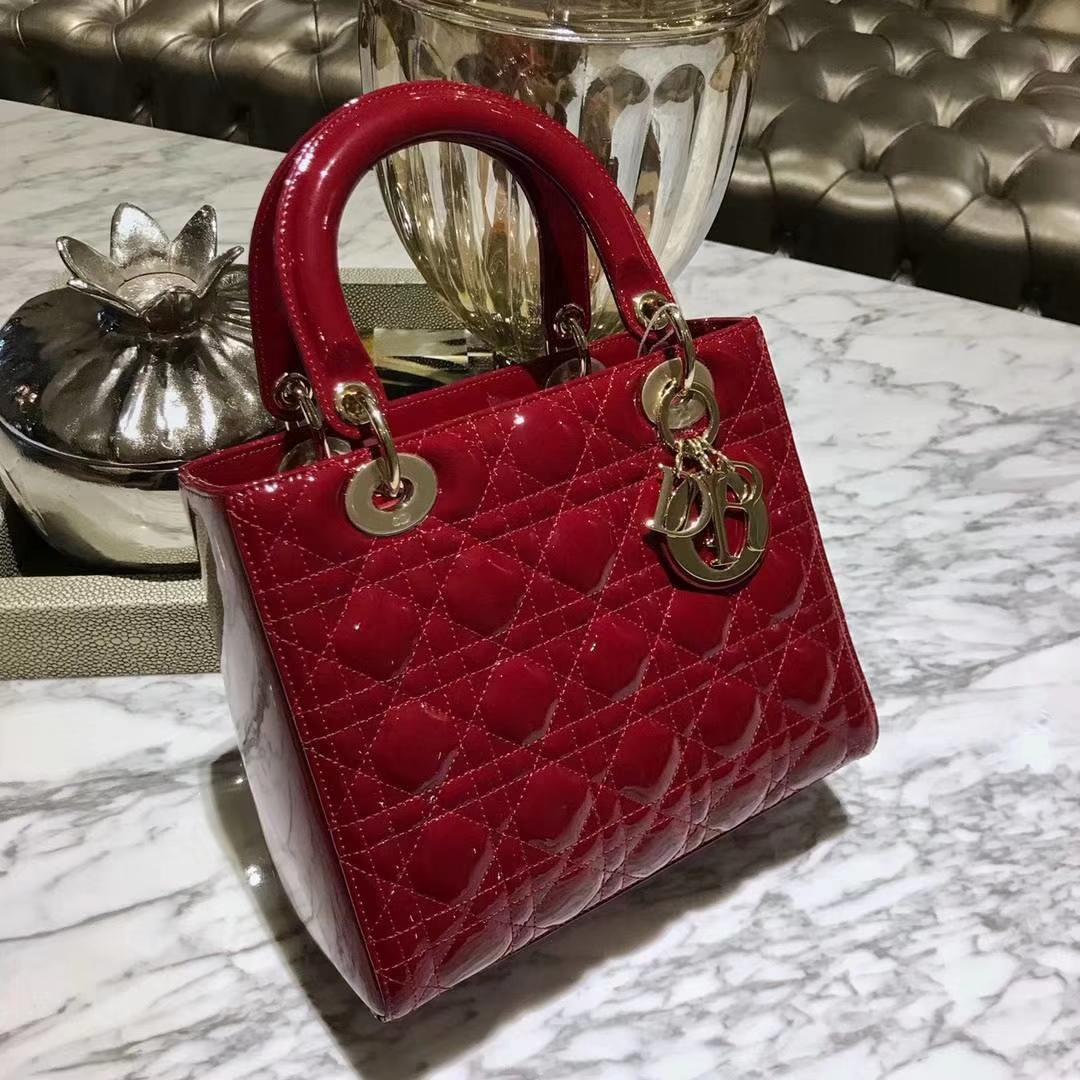 Dior 迪奥 五格漆皮酒红色 戴妃包 Lady Dior 最彰显女性魅力