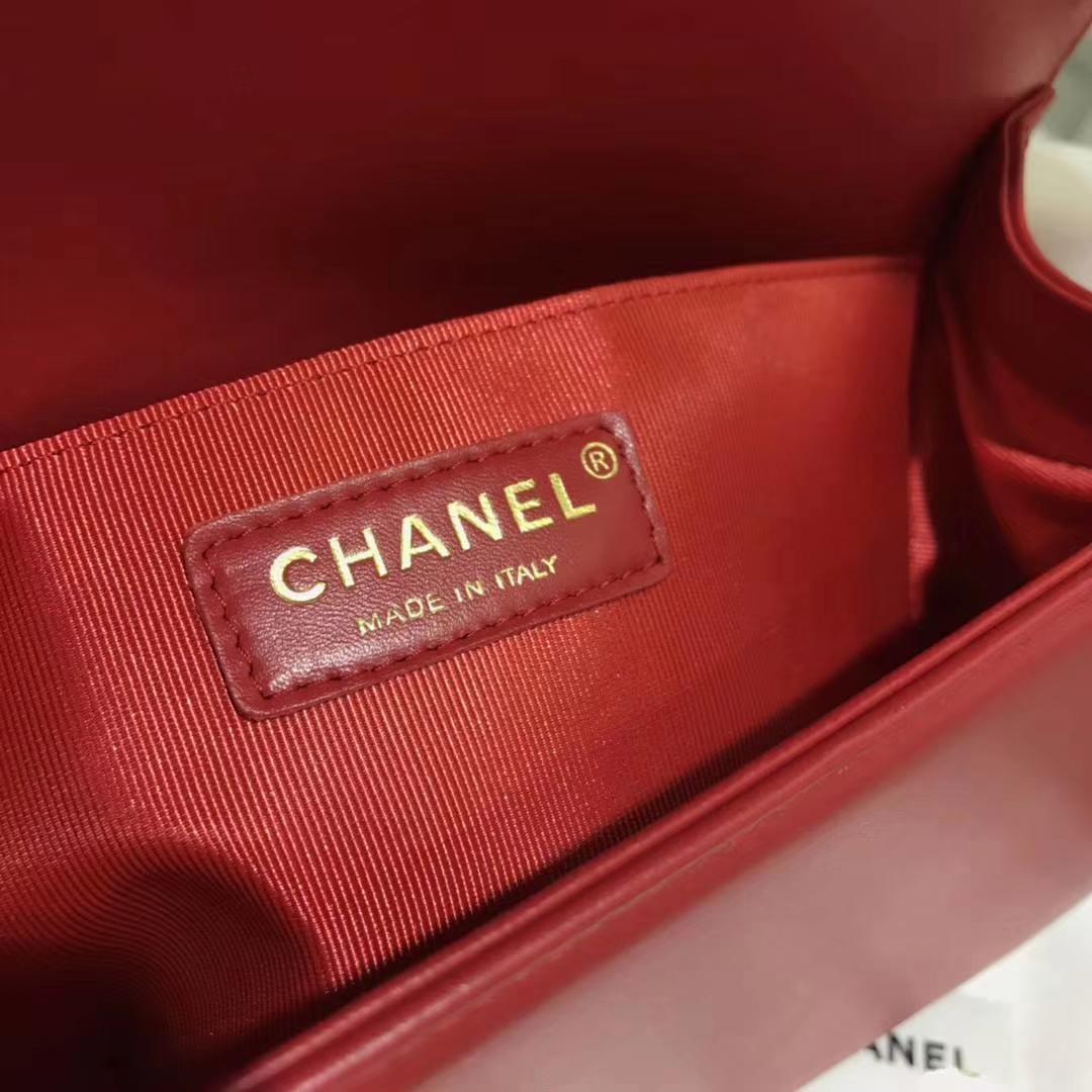 Chanel 香奈儿 leboy 进口小羊皮 大红色 沙金