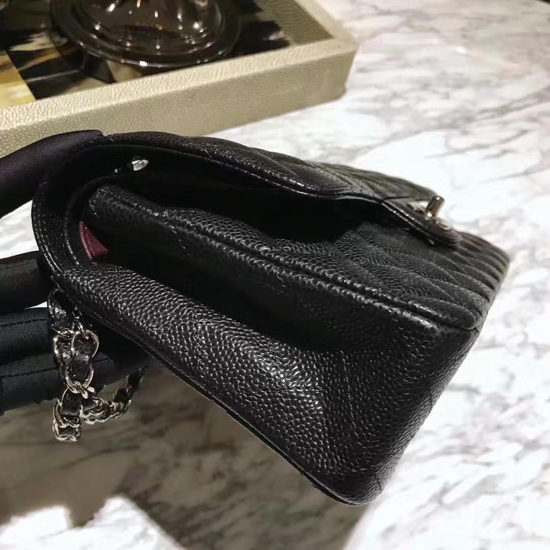 Chanel 香奈儿 Cf系列 25cm 原厂皮鱼子酱 黑色 银色五金