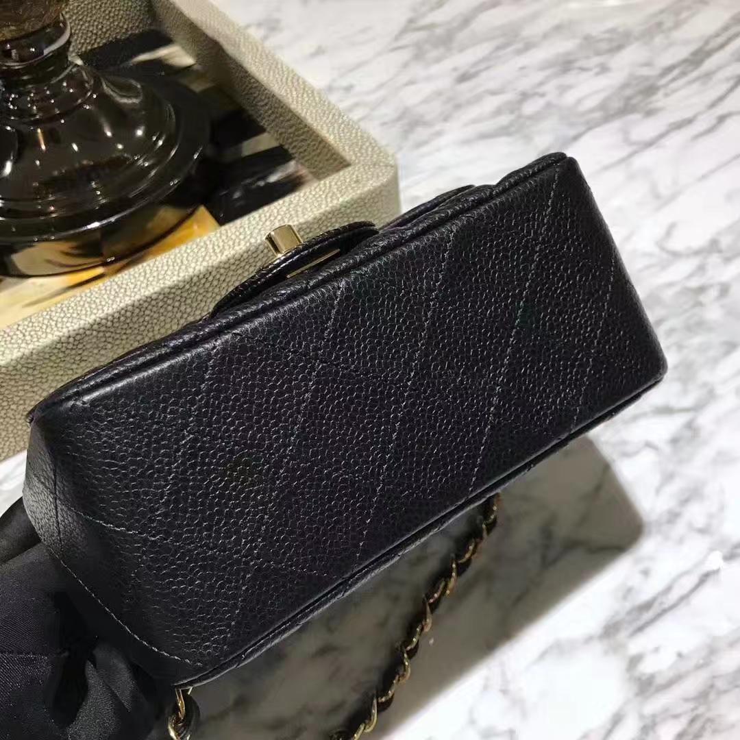 Chanel 香奈儿 方胖子 CF系列 17cm 原厂皮鱼子酱 黑色 金色五金