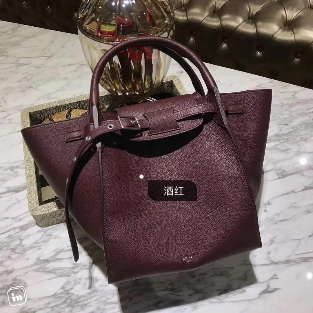 CÉLINE 购物袋 专柜同步发售 中号24cm 酒红 进口荔枝纹牛皮