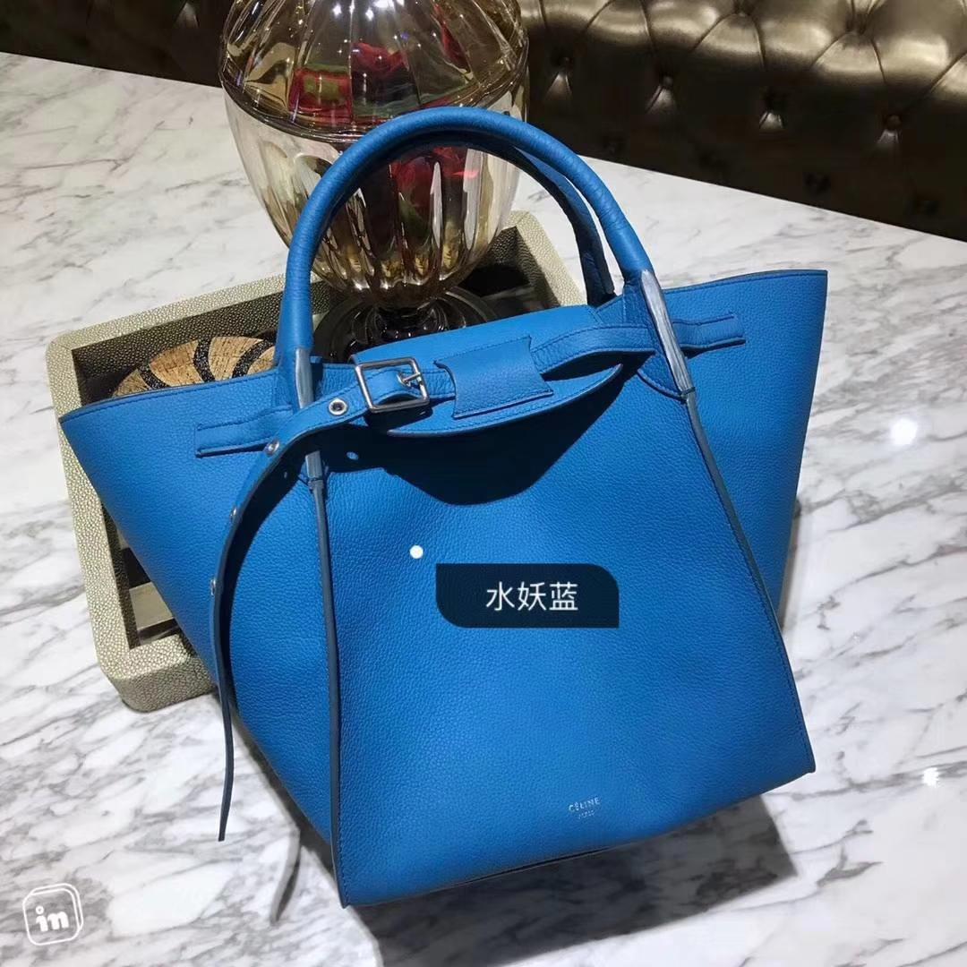 CÉLINE  购物袋   专柜同步发售  中号  24x26x22cm  水妖蓝