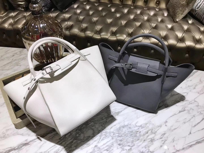 CÉLINE 购物袋 专柜同步发售 中号24cm 白色 熔岩灰 进口荔枝纹牛皮
