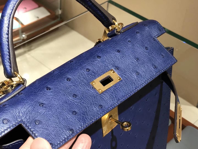 凯莉包 Kelly 25cm 28cm 鸵鸟皮 纯手工 玛尔塔兰 金银扣都可以定制 配全套专柜原版包装