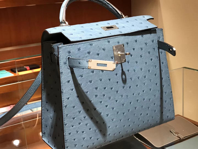 凯莉包 Kelly 25cm 28cm 鸵鸟皮 暴风蓝 Y7 Blue orage 金银扣都可以定制 配全套专柜原版包装
