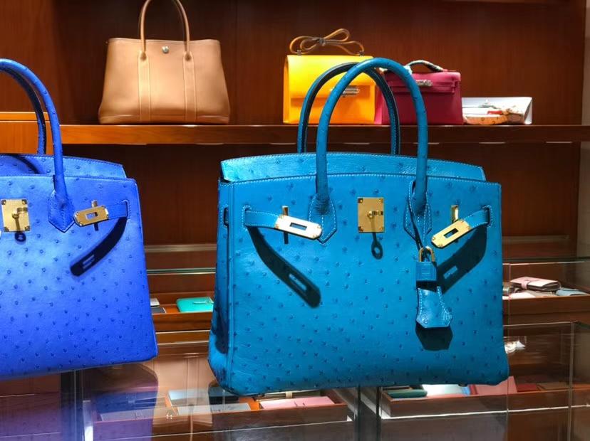 铂金包 Birkin 30cm 湖水蓝 7V Blue Azteque 鸵鸟皮 金银扣都可以定制 配全套专柜原版包装