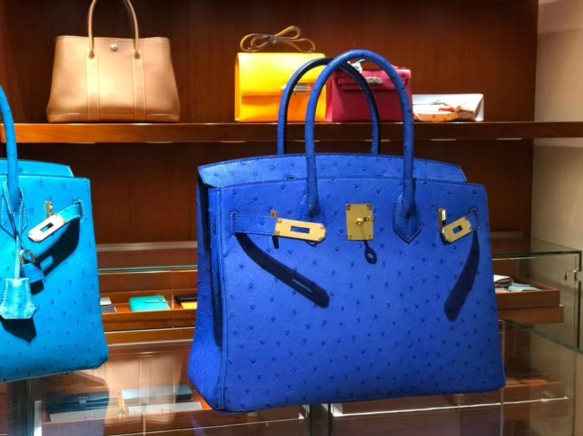 铂金包 Birkin 30cm 鸵鸟皮 水妖蓝 T7 Blue Hydra 金银扣都可以定制 配全套专柜原版包装