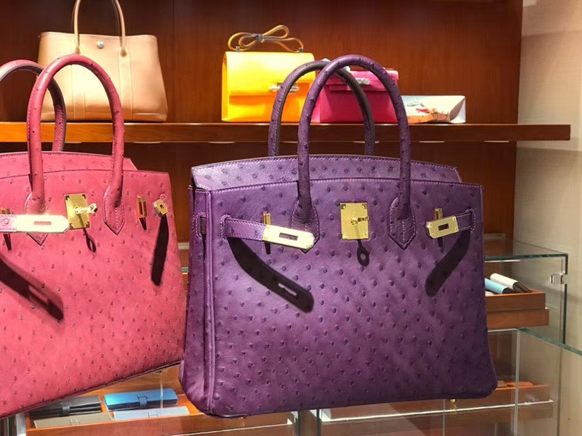 铂金包 Birkin 30cm 鸵鸟皮 海葵紫 P9 Anemone 金银扣都可以定制 配全套专柜原版包装