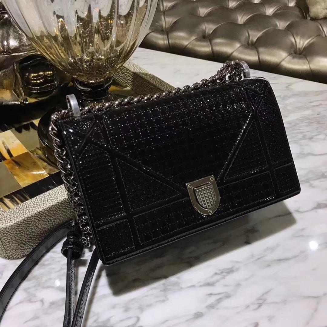 广州品牌包包定制 Dior腾格纹 黑色 漆皮 25cm/21cm