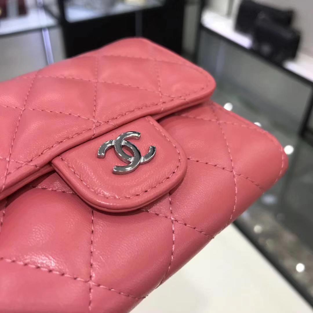 Chanel香奈儿 钱包 小羊皮 西瓜红色 银扣 短夹