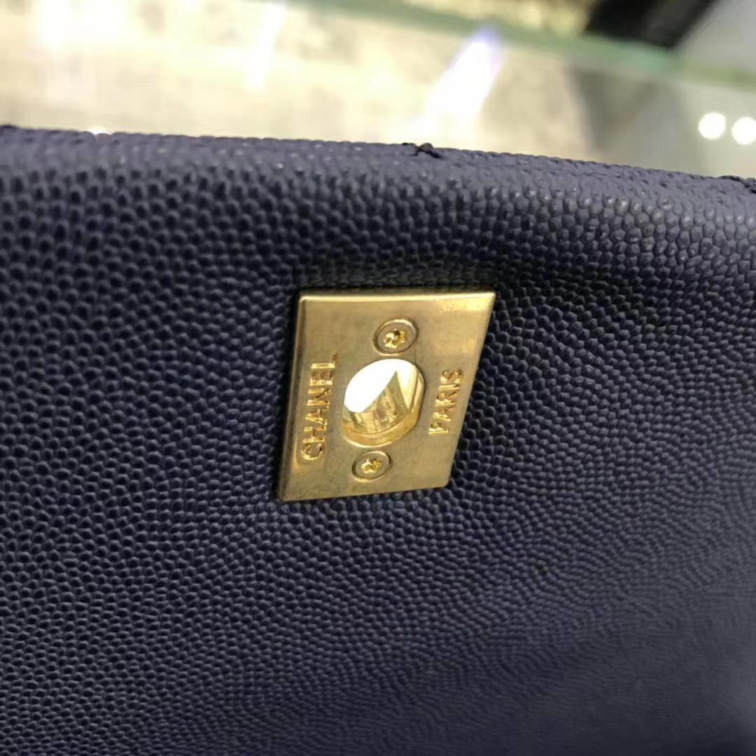 Chanel 香奈儿 CoCo Handle 顶级代购版本 28cm 蜥蜴小球纹 蓝色 金扣