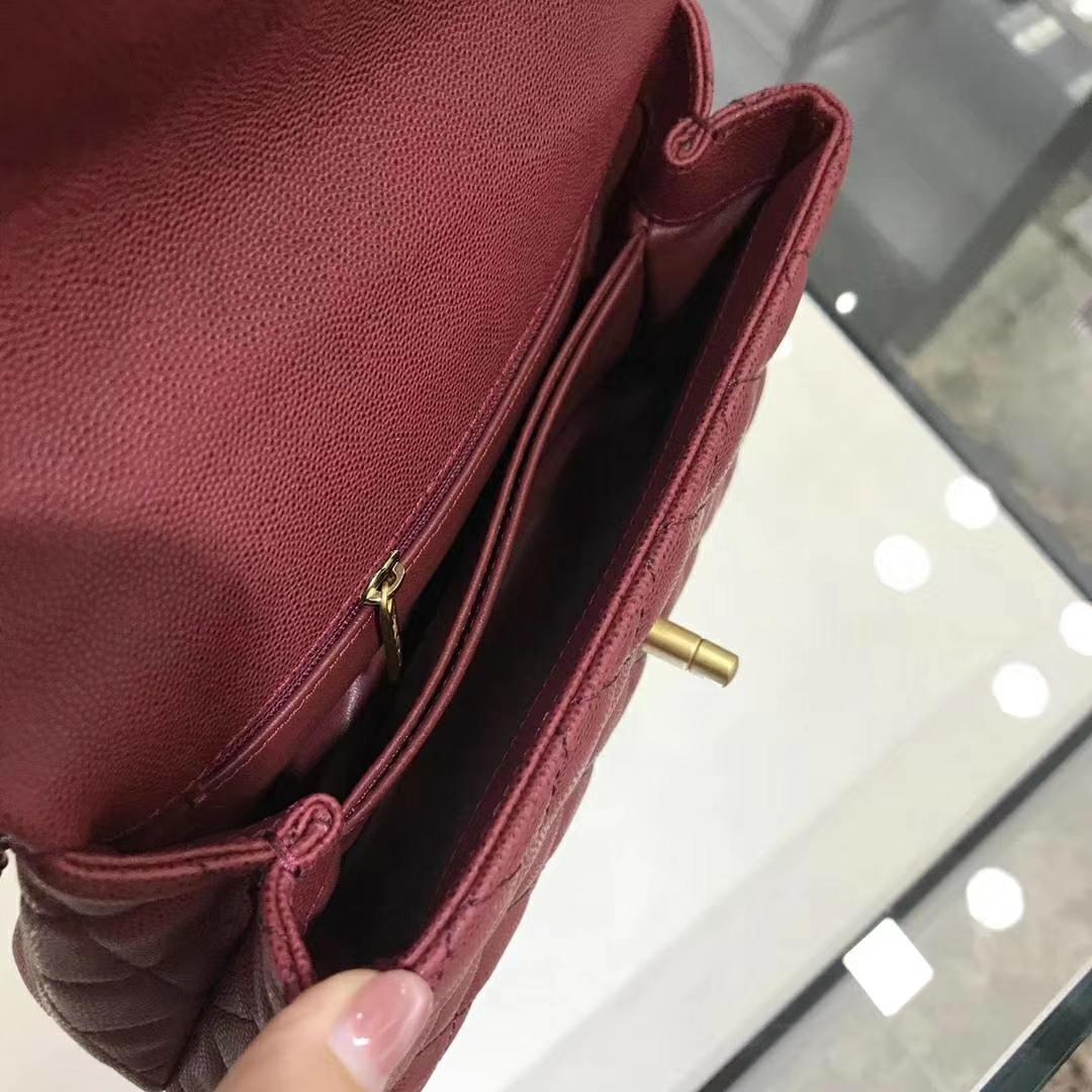 Chanel 香奈儿 CoCo Handle 23cm 原厂皮 蜥蜴手柄 枣红色 沙金
